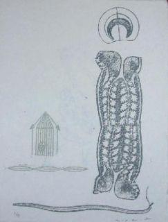 Linogravure Ernst - Lewis Caroll's Wunderhorn