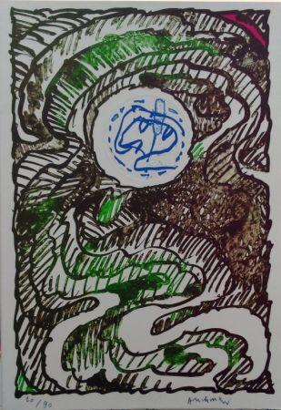 Lithographie Alechinsky - L'excédante 2