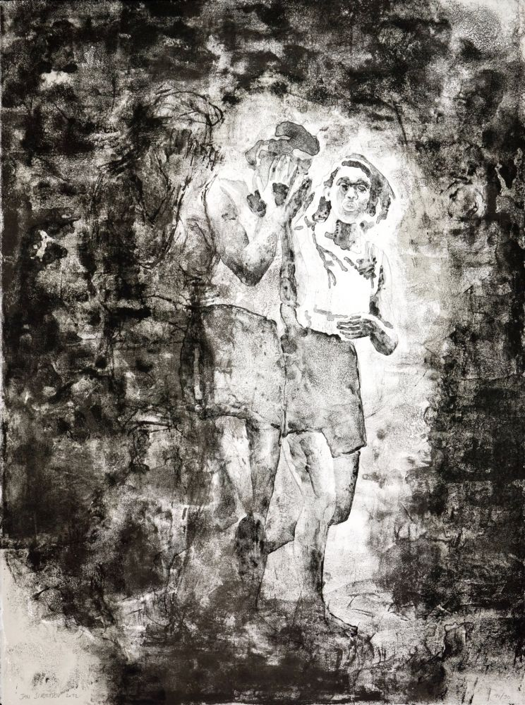Lithographie Siversten - L'existant-Deux figures sortant
