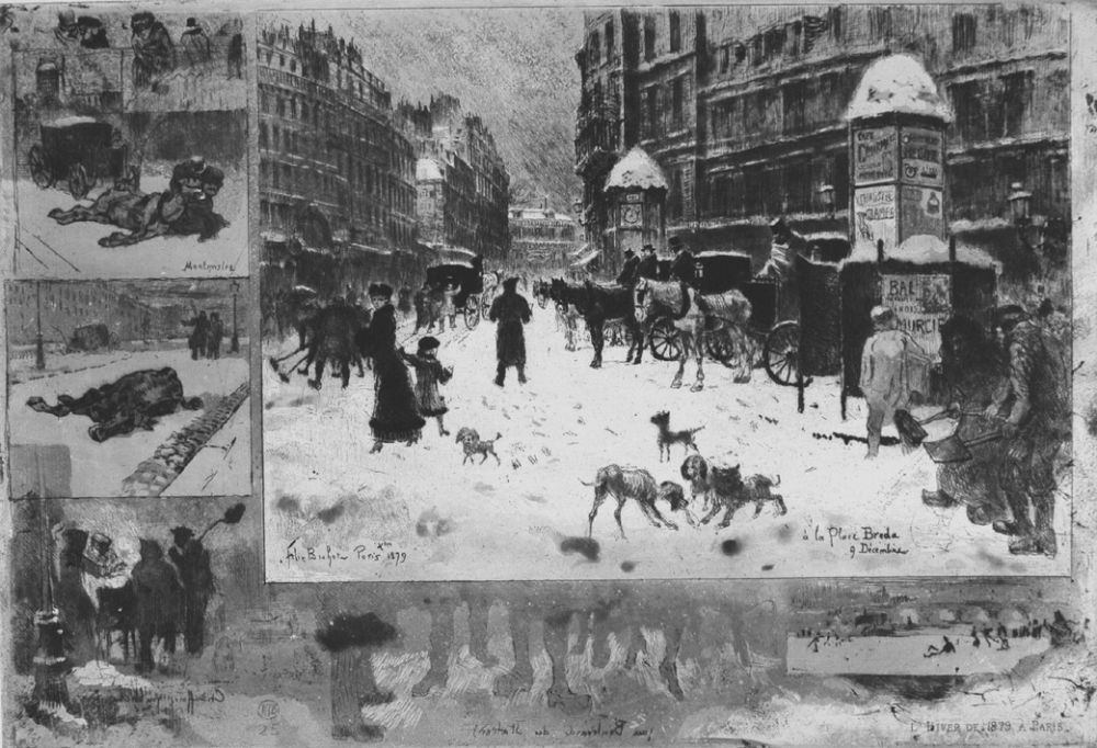 Eau-Forte Buhot - L'hiver e 1879 à Paris