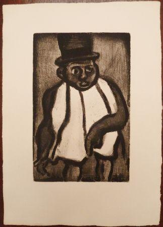 Gravure Rouault - L'homme à l'écharpe