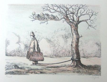 Lithographie Topor - L'homme aux valises