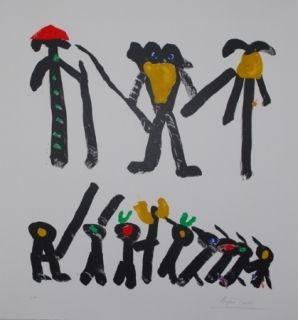 Lithographie Ionesco - L'homme avec deux femmes et leurs enfants