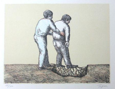 Lithographie Topor - L'Homme Déraciné