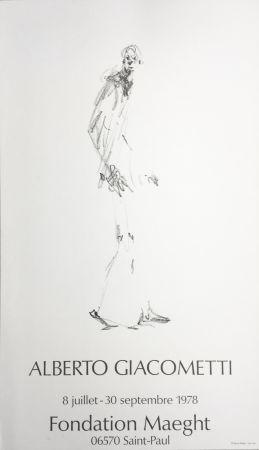Affiche Giacometti - L'HOMME QUI MARCHE. Fondation Maeght du 8 juillet au 30 septembre 1978.