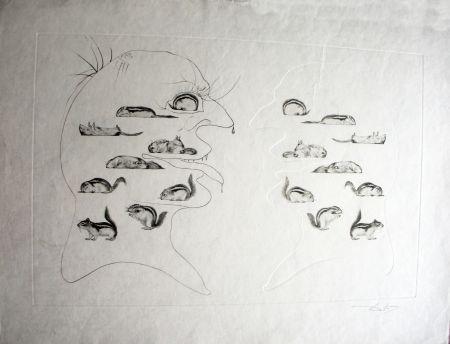 Eau-Forte Dali - L'Homme ressuscité par l'holographie de l'écureuil