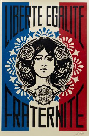 Lithographie Fairey - Liberté, Egalité, Fraternité