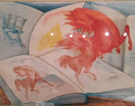 Lithographie Sassu - Libri e cavalli