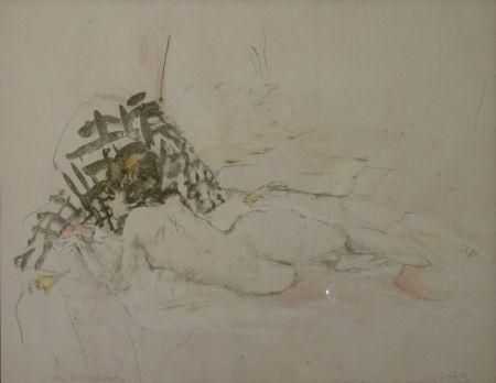 Lithographie Falk - (Liegender Akt