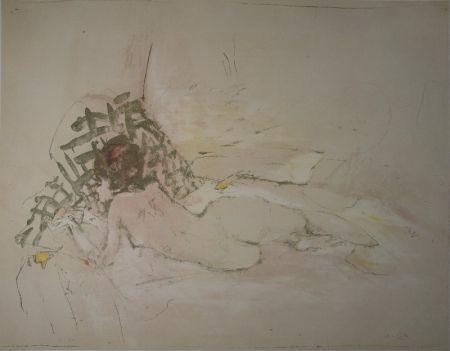Lithographie Falk - Liegender Akt