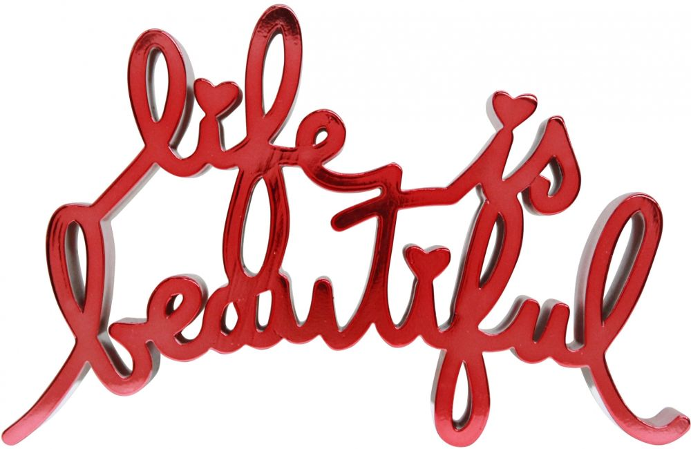 Multiple Mr Brainwash - Life is beautiful - hard candy light red
