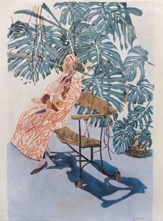 Lithographie Szafran - Lilette à la chaise de Gaudi,