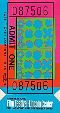 Sérigraphie Warhol - Lincoln Center Film Festival Ticket (Feldman & Schellmann II.19)