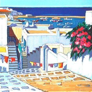 Lithographie Quilici - Linge au soleil a mykonos