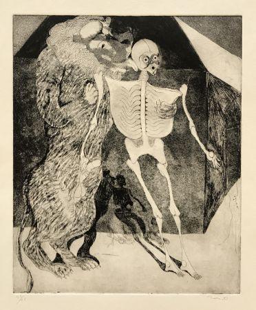 Gravure Toledo - Lion Licking Skeleton