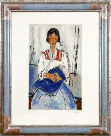 Aquatinte Modigliani - L'Italienne (Gitane avec bébé. 1919). Gravé par Jacques Villon (Bernheim 1927)