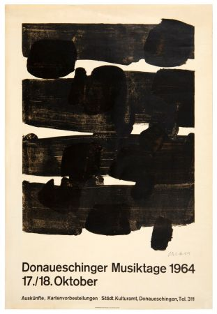 Lithographie Soulages - Lithographie n°12, 1964. Signée.