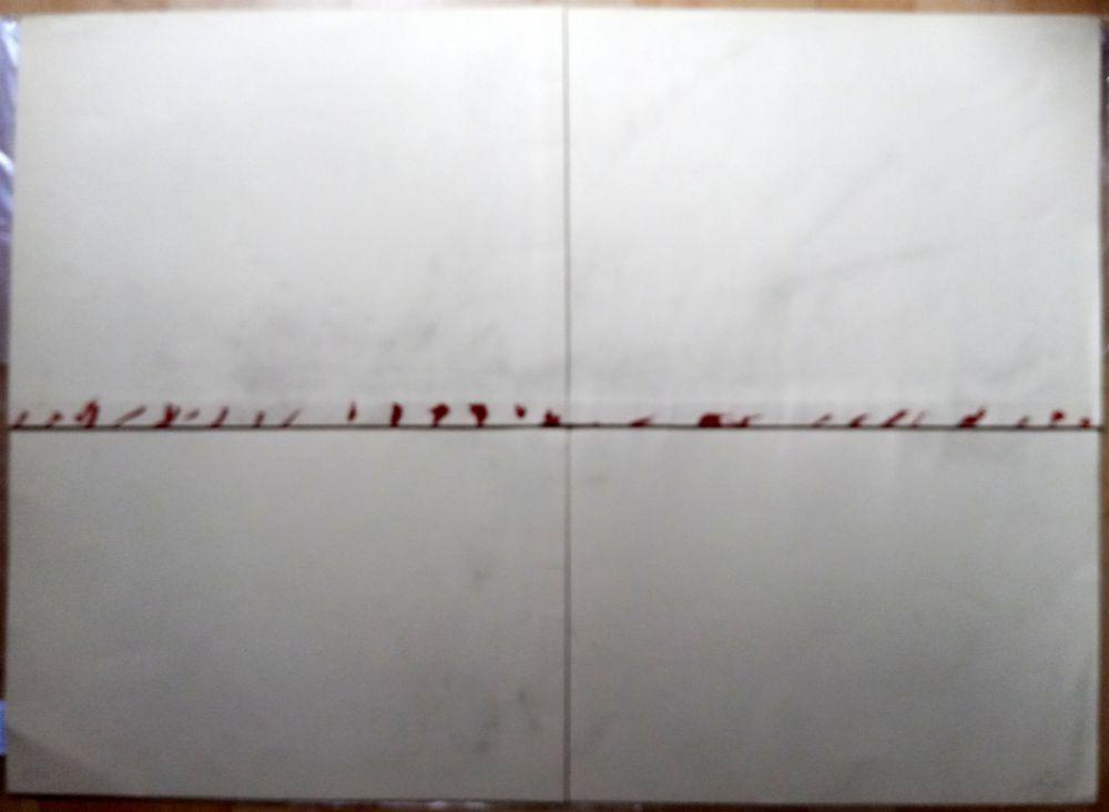 Lithographie Tàpies - Litografía Doblada en Rojo y Gris