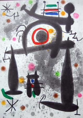 Lithographie Miró - Litografia Original Derriere Le Miroir - 1971