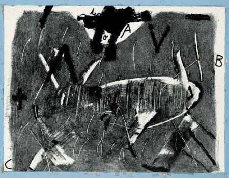 Gravure Tàpies - Lletres i gris