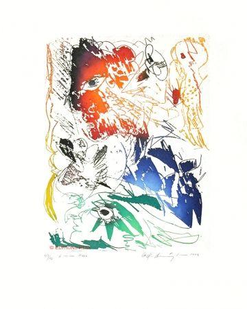 Aquatinte Pedersen - L'oiseau bleu