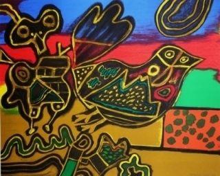 Lithographie Corneille - L'oiseau né du Paysage II