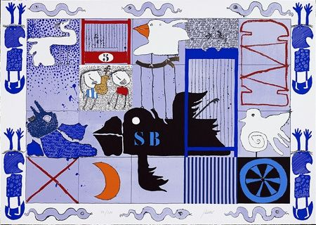 Sérigraphie Silvain - L'oiseau noir
