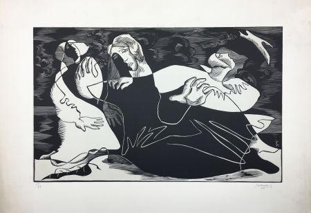 Gravure Sur Bois Survage - L'Oiseau (ou Femmes de pêcheurs). Paris 1933