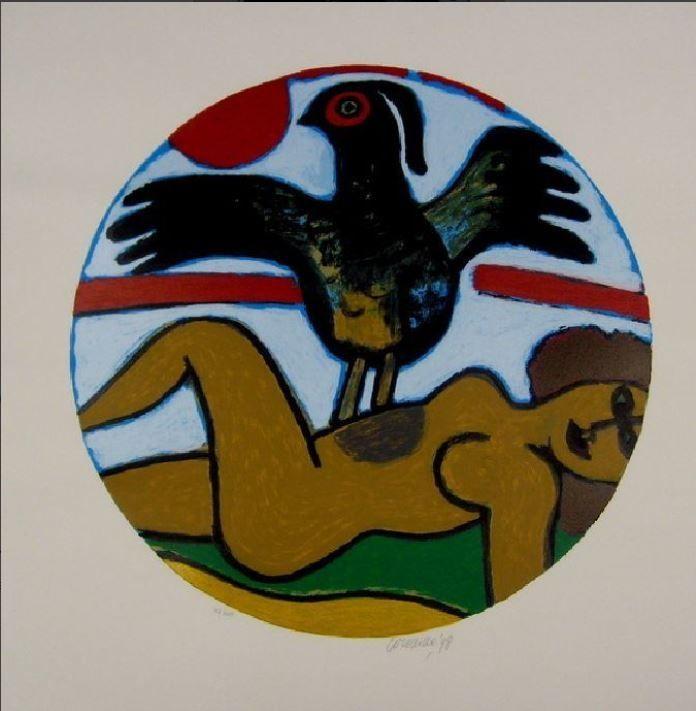 Lithographie Corneille - L'oiseau Present