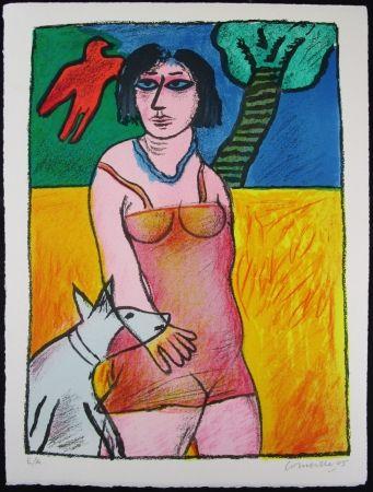 Lithographie Corneille - L'Oiseau Rouge et le Chien