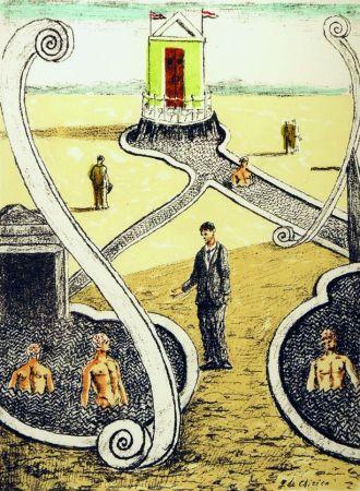 Lithographie De Chirico - L'ospite dei bagnanti misteriosi