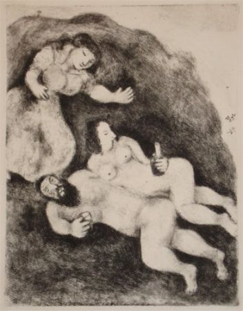 Eau-Forte Et Aquatinte Chagall - `Lot et ses Filles