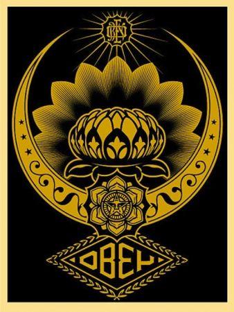 Sérigraphie Fairey - Lotus Ornament Gold