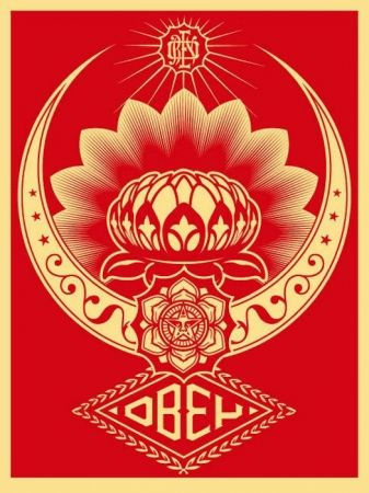 Sérigraphie Fairey - Lotus Ornament Red