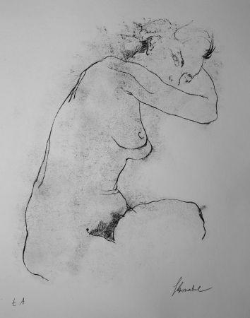 Lithographie Bonabel - Louis-Ferdinand Céline - Litographie Originale / Original Lithograph - Autoportrait / Self-Portrait - Nu Feminin / Male Nude - 1945