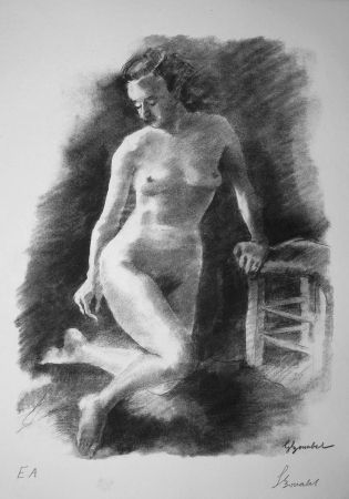 Lithographie Bonabel - Louis-Ferdinand Céline - Litographie Originale / Original Lithograph - Autoportrait/Self-portrait - 1945