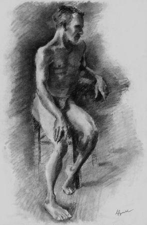Lithographie Bonabel - Louis-Ferdinand Céline - Litographie Originale / Original Lithograph - Nu Masculin / Male Nude - 1938