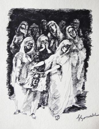 Gravure Bonabel - Louis-Ferdinand Céline / Lucette Almansor - Gravure Originale - Répétion ballet en costume