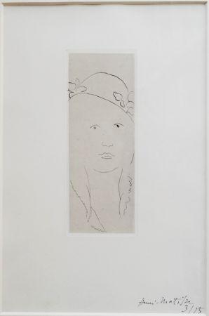 Gravure Matisse - Loulou au chapeau fleuri
