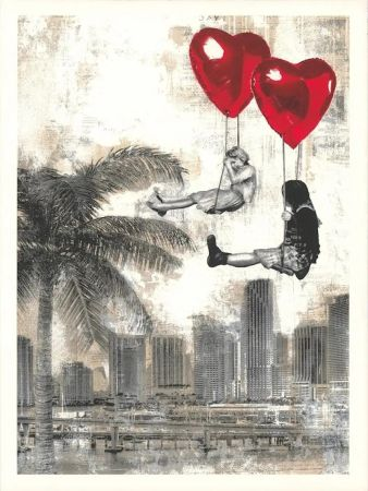 Sérigraphie Mr Brainwash - Love is in the Air - Miami