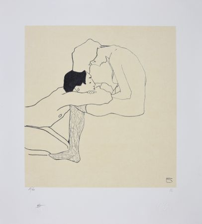 Lithographie Schiele - LOVERS 1909