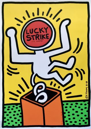Lithographie Haring - Lucky Strike II (Yellow) (Hand Signed) Pop Art Poster 1987