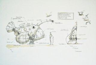 Lithographie Delarozière - Luminaire des grands fonds