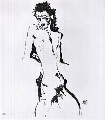 Lithographie Schiele - Männlicher Akt