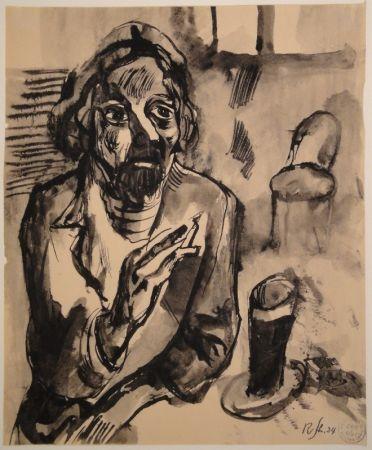 Aucune Technique Schürch - Männliches Porträt (Selbstporträt) mit Glas und Stuhl