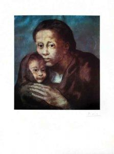 Lithographie Picasso - Mère et enfant Au Fichu
