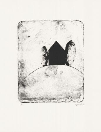 Lithographie Le Groumellec - Mégalithe et maison