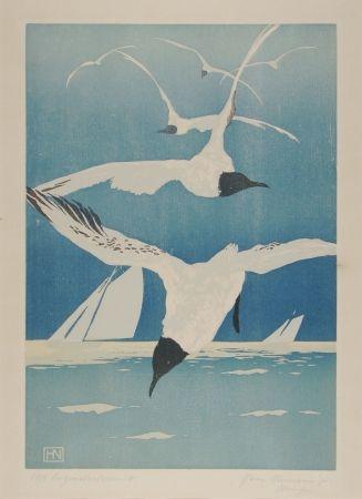 Gravure Sur Bois Neumann - Möven (Seagulls)