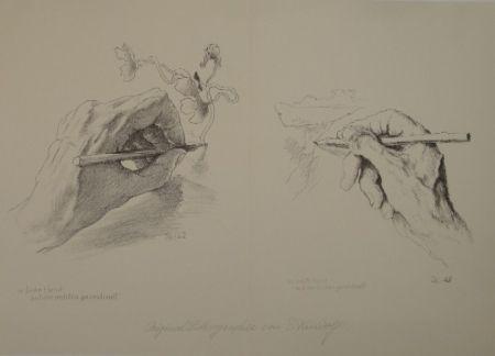 Lithographie Kreidolf - M. linke Hand mit der rechten gezeichnet, m. rechte Hand mit der linken gezeichnet.