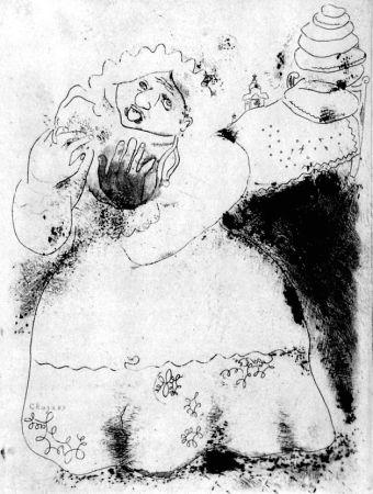 Eau-Forte Chagall - Madame Korobotchka
